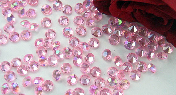 pink table crystals